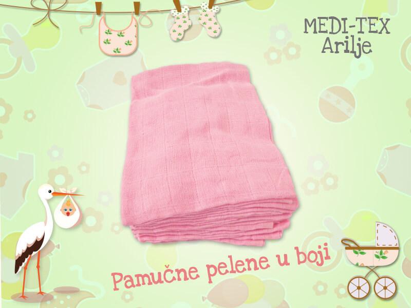 Pamucne pelene u boji firme Meditex Arilje 100% pamuk. Boja roze.